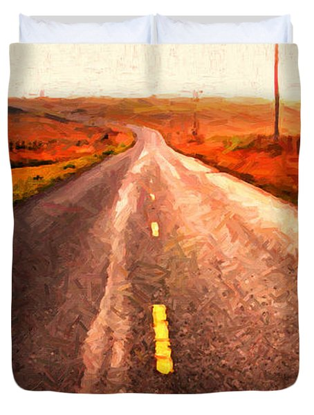 The Long Road Home . Painterly Style . Wide Size Duvet Cover by Wingsdomain Art and Photography
