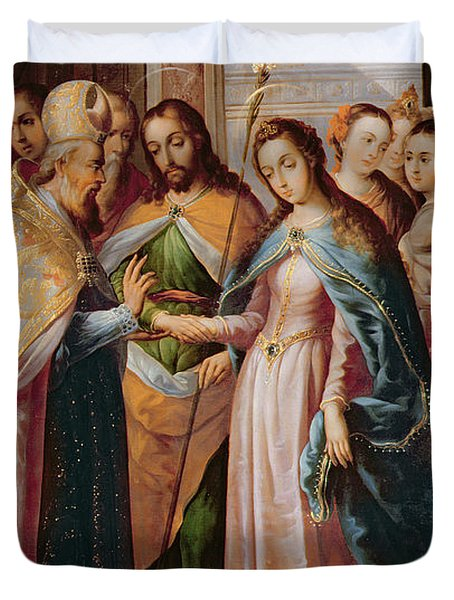 The Marriage Of Mary And Joseph Duvet Cover by Mexican School