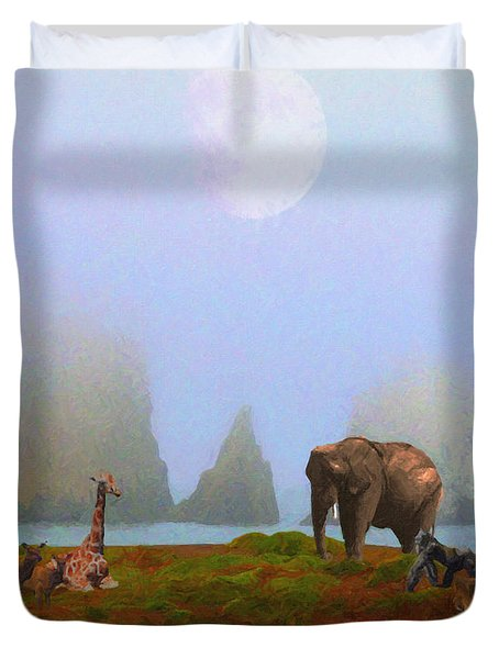 The Menagerie . Painterly Duvet Cover by Wingsdomain Art and Photography
