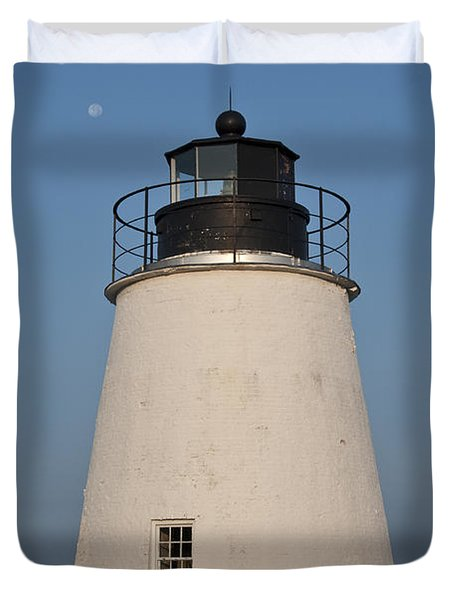 The Moon Behind The Piney Point Lighthouse Duvet Cover by Bill Cannon