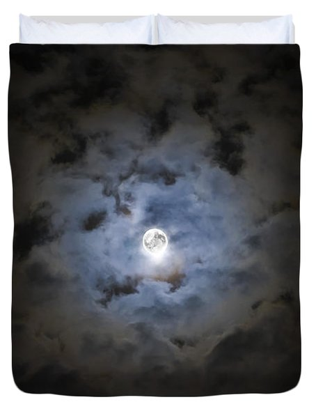 The Moon Covered By A Layer Of Clouds Duvet Cover by Miguel Claro