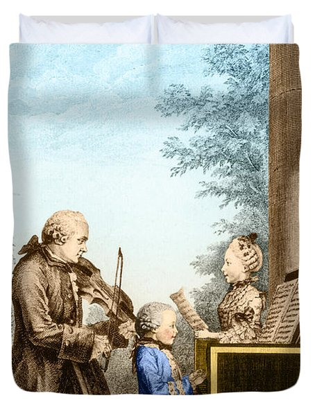 The Mozart Family On Tour 1763 Duvet Cover by Photo Researchers