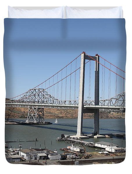 The New Alfred Zampa Memorial Bridge And The Old Carquinez Bridge . 5d16798 Duvet Cover by Wingsdomain Art and Photography