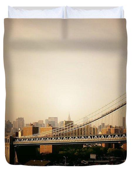 The New York City Skyline And Manhattan Bridge At Sunset Duvet Cover by Vivienne Gucwa