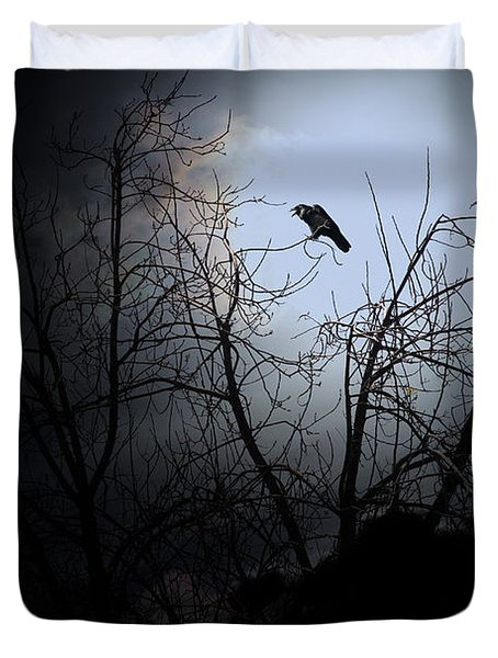 The Night The Raven Appeared In My Dream . 7D12631 Duvet Cover by Wingsdomain Art and Photography