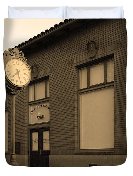 The Old Banker's Building - 5d18429 - Sepia Duvet Cover by Wingsdomain Art and Photography