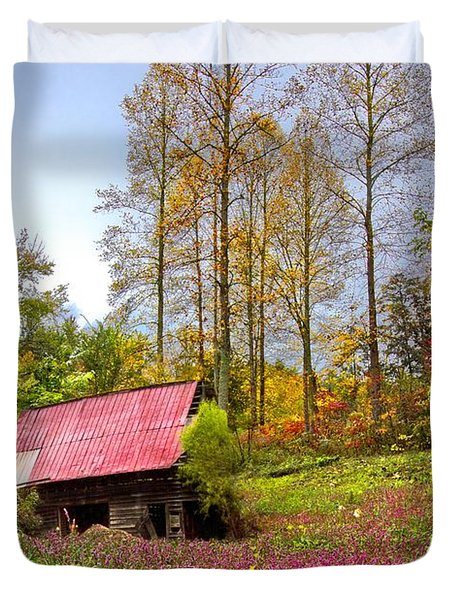 The Old Barn at Grandpas Farm Duvet Cover by Debra and Dave Vanderlaan