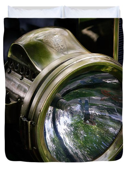 The Old Brass Ford Headlight Duvet Cover by Steve McKinzie