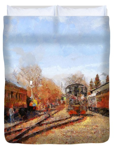 The Old Sacramento Central Train Depot . 7d11513 Duvet Cover by Wingsdomain Art and Photography