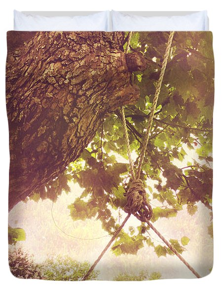 The Old Swing Duvet Cover by Susan Bordelon