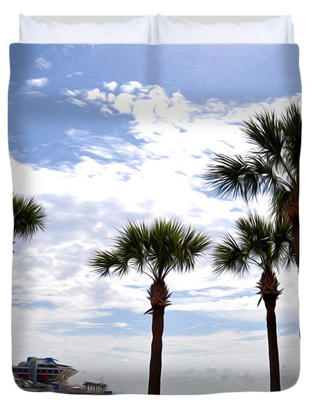 The Pier - St. Petersburg Duvet Cover by Bill Cannon