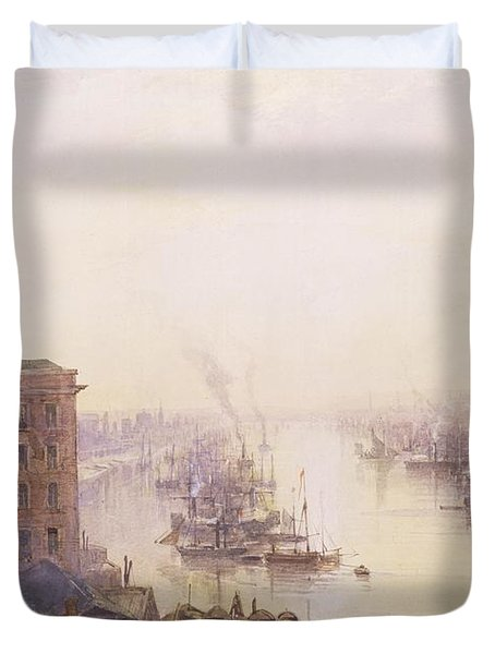 The Pool From The Adelaide Hotel London Bridge Duvet Cover by William Wyld