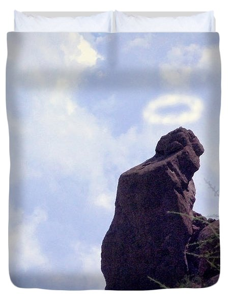 The Praying Monk with Halo - Camelback Mountain - Painted Duvet Cover by James BO  Insogna