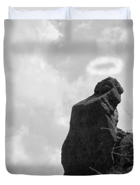 The Praying Monk with Halo - Camelback Mountain BW Duvet Cover by James BO  Insogna