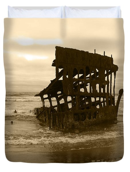 The Remains Of A Ship Duvet Cover by Kym Backland