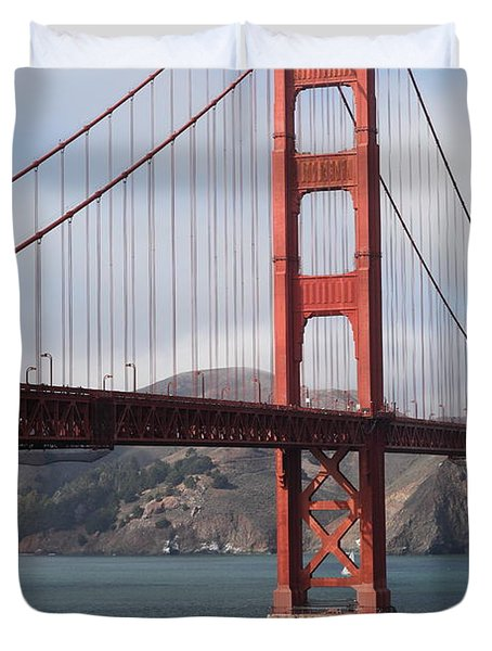 The San Francisco Golden Gate Bridge - 5d18911 Duvet Cover by Wingsdomain Art and Photography