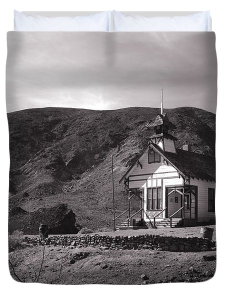 The Schoolhouse in Calico Ghost Town California Duvet Cover by Susanne Van Hulst
