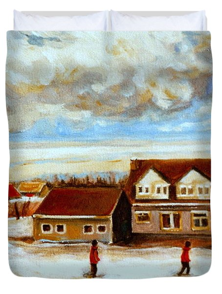 The Schoolhouse Winter Morning Quebec Rural Landscape Duvet Cover by Carole Spandau