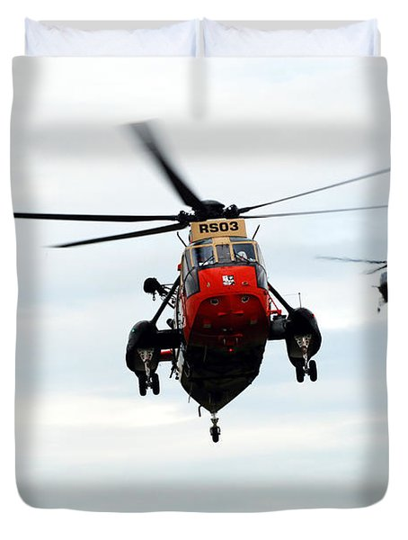 The Sea King Helicopter And The Agusta Duvet Cover by Luc De Jaeger
