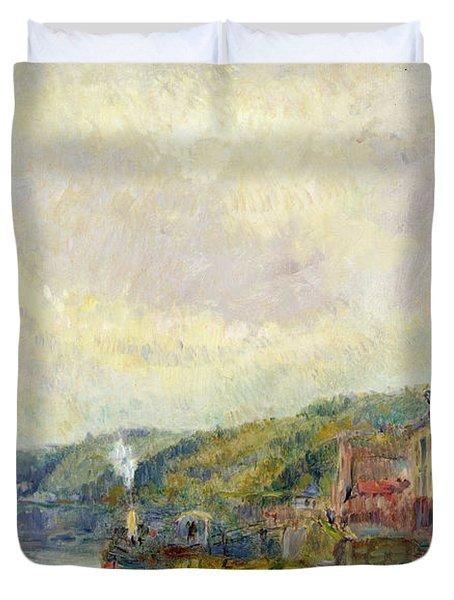 The Seine At Croisset Duvet Cover by Albert Charles Lebourg
