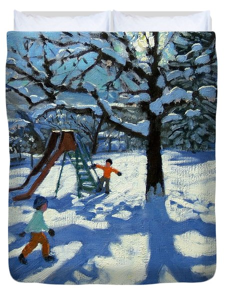 The Slide In Winter Duvet Cover by Andrew Macara