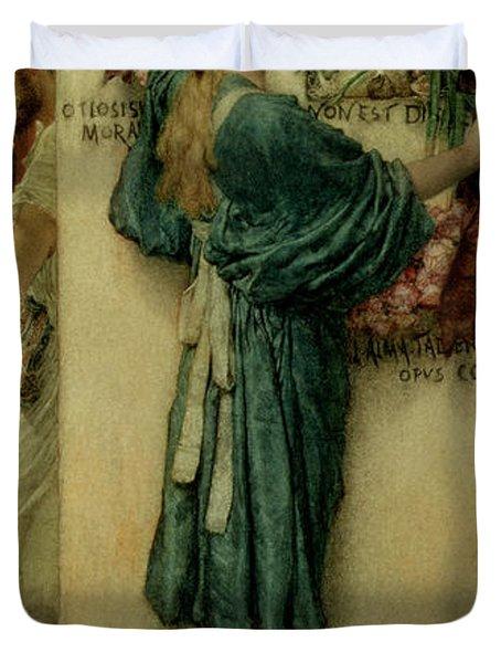 The Street Altar Duvet Cover by Sir Lawrence Alma-Tadema