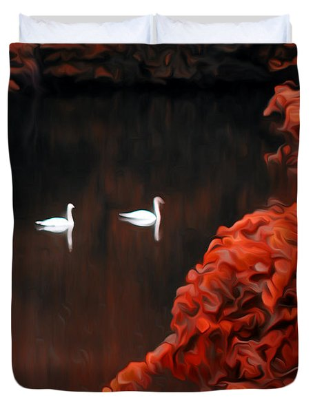 The Swan Pair Duvet Cover by Bill Cannon