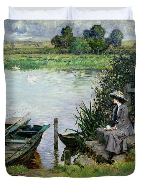 The Thames At Benson Duvet Cover by Albert Chevallier Tayler