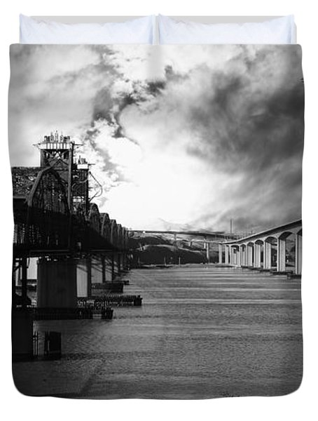 The Three Benicia-Martinez Bridges . A Journey Through Time . Black and White Duvet Cover by Wingsdomain Art and Photography