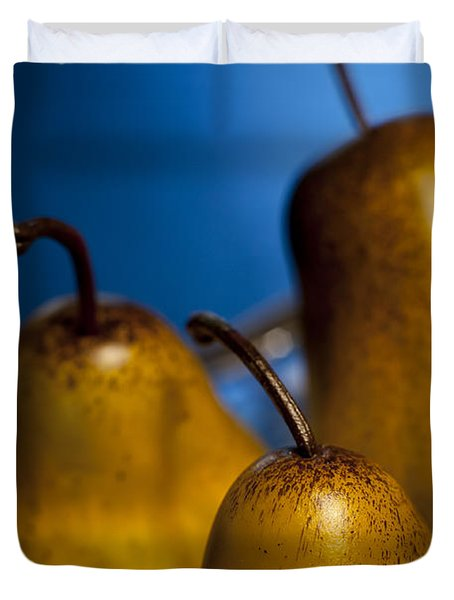 The Three Pears Duvet Cover by Scott Norris
