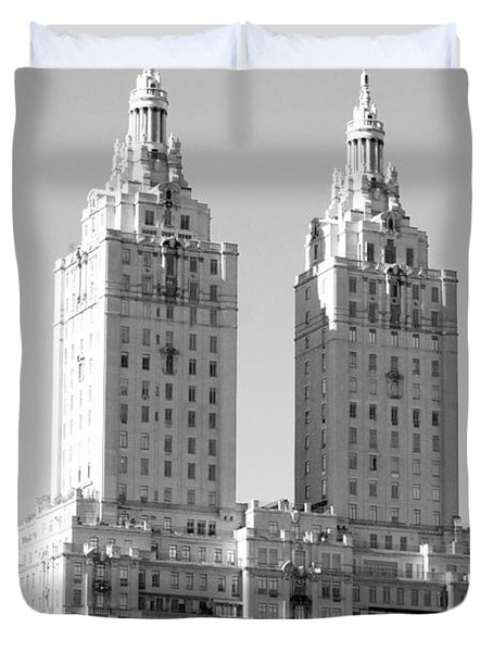 The Towers In Black And White Duvet Cover by Rob Hans