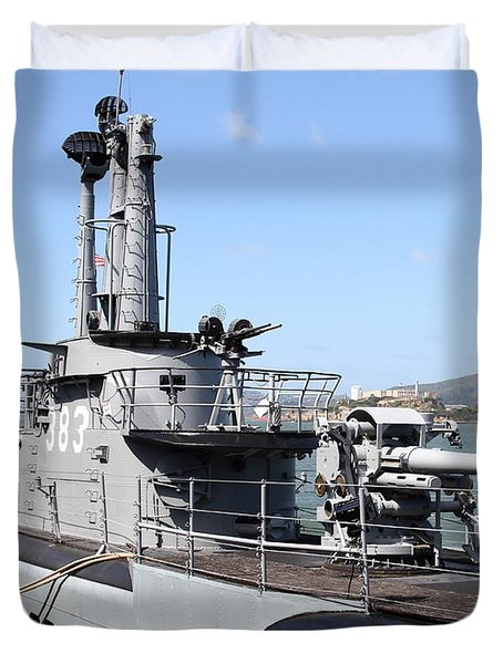 The Uss Pampanito Submarine At Fishermans Wharf With Alcatraz In The Distance.san Francisco.7d14420 Duvet Cover by Wingsdomain Art and Photography