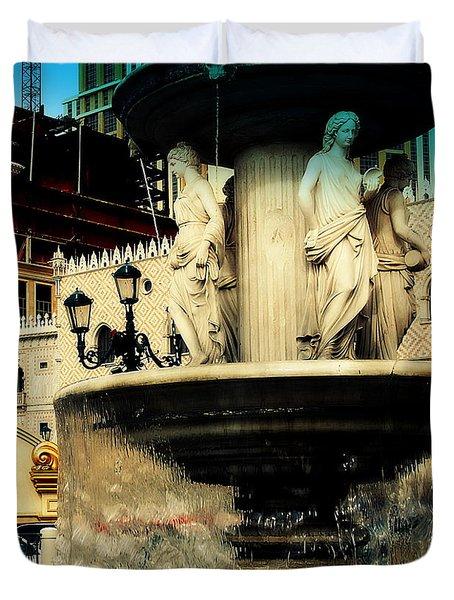 The Venetian Fountain In Las Vegas Duvet Cover by Susanne Van Hulst