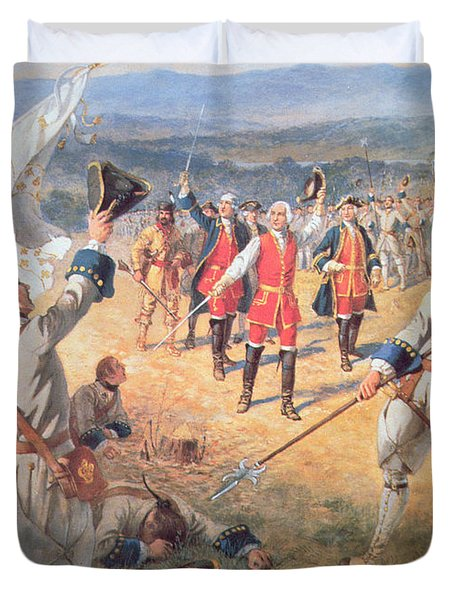 The Victory Of Montcalms Troops At Carillon Duvet Cover by Henry Alexander Ogden