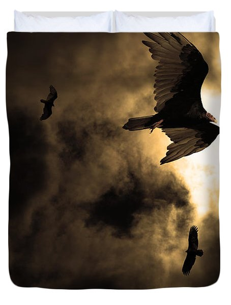 The Vultures Have Gathered In My Dreams . Version 2 . Golden Duvet Cover by Wingsdomain Art and Photography