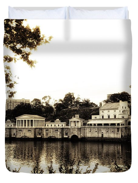 The Waterworks in Sepia Duvet Cover by Bill Cannon