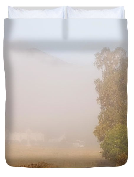 The Way To Never Never Land. Misty Roads Of Scotland Duvet Cover by Jenny Rainbow