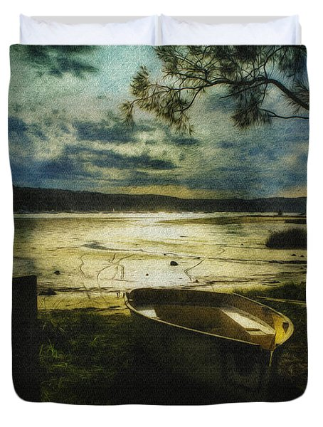 The Yellow Boat Duvet Cover by Avalon Fine Art Photography
