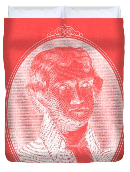 THOMAS JEFFERSON in NEGATIVE RED Duvet Cover by ROB HANS