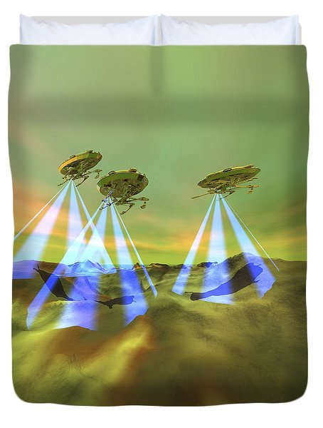 Three Alien Spaceships Steal Duvet Cover by Corey Ford