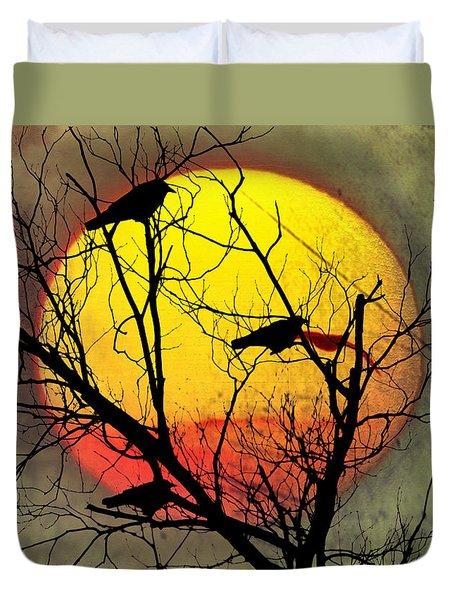 Three Blackbirds Duvet Cover by Bill Cannon