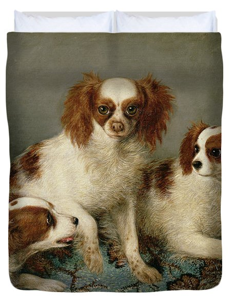 Three Cavalier King Charles Spaniels On A Rug Duvet Cover by English School