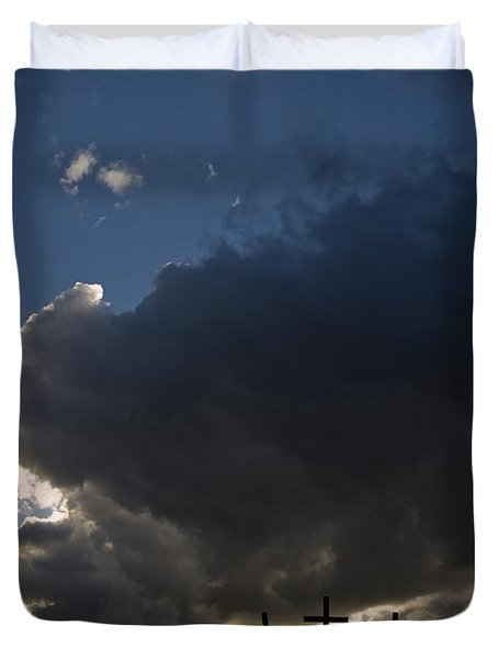 Three Crosses, West Yorkshire, England Duvet Cover by John Short