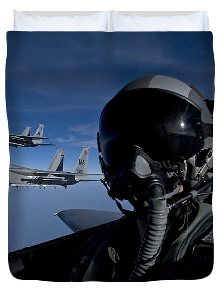 Three F-15 Eagles Fly High Duvet Cover by HIGH-G Productions