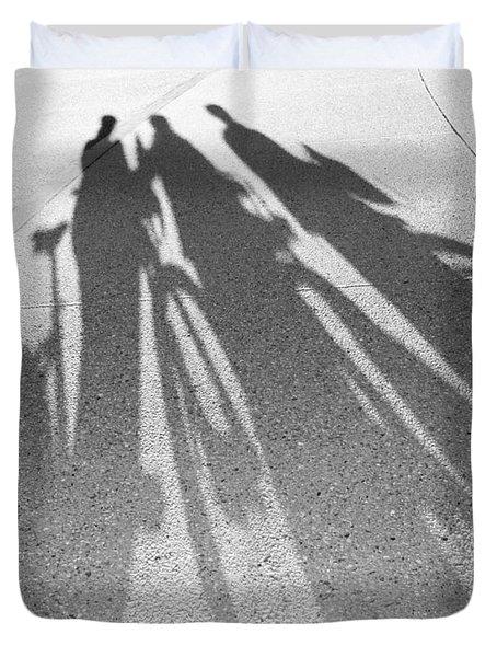 Three Friends On Bikes Duvet Cover by Julie Niemela