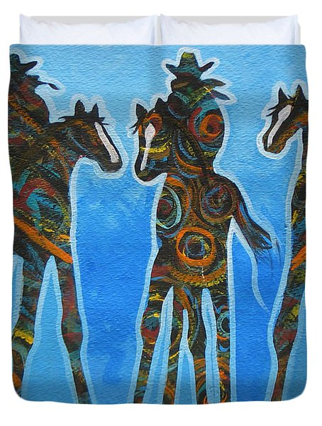 Three In The Blue Duvet Cover by Lance Headlee
