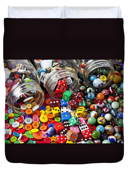 Three Jars Of Buttons Dice And Marbles Duvet Cover by Garry Gay