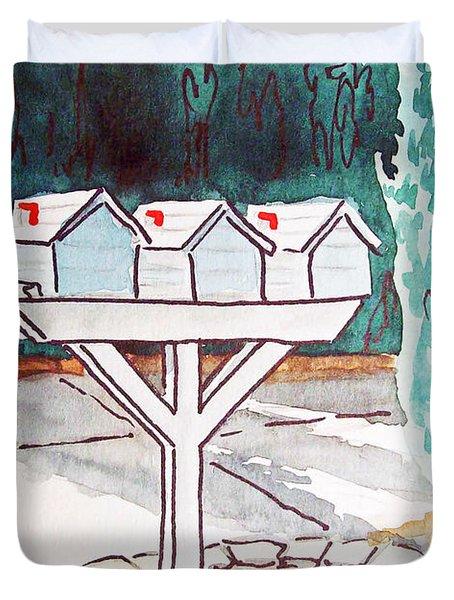 Three Mailboxes Sketchbook Project Down My Street Duvet Cover by Irina Sztukowski
