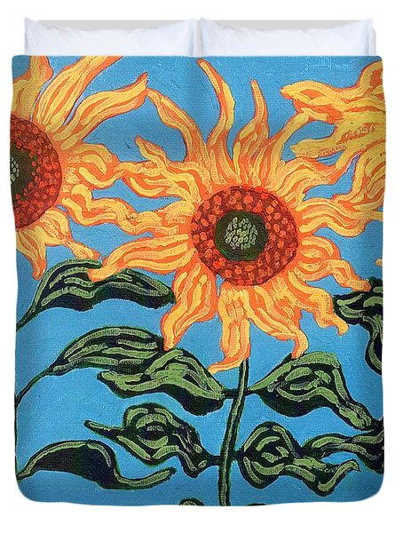 Three Sunflowers II Duvet Cover by Genevieve Esson