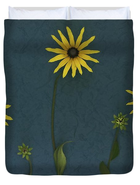 Three Yellow Flowers Duvet Cover by Deddeda